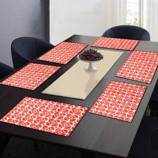 "RatanCart Floral Printed Washable Table Placemat, Set of 6, 13""x19"", Orange (TPM0008)"