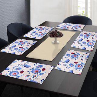 "RatanCart Floral Printed Washable Table Placemat, Set of 6, 13""x19"", Blue  (TPM0009)"