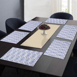 "RatanCart Floral Printed Washable Table Placemat, Set of 6, 13""x19"", Blue  (TPM0010)"