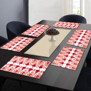 """RatanCart Floral Printed Washable Table Placemat, Set of 6, 13""""x19"""", Red (TPM0011)"""