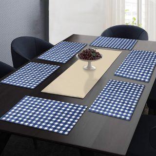 "RatanCart Floral Printed Washable Table Placemat, Set of 6, 13""x19"", Blue  (TPM0012)"