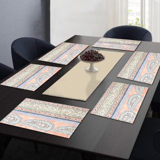 "RatanCart Floral Printed Washable Table Placemat, Set of 6, 13""x19"", Multicolor (TPM0013)"