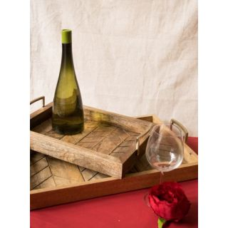 Tray Wooden Gold Line (Set of 2)