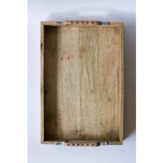 Tray Wooden Cane Handle Orange