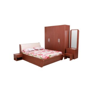 Turin Queen Bed with 1 Side Table with 4 Door Wardrobe & 1 Dresser with Stool