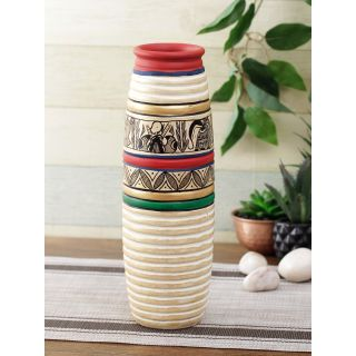 Handcrafted Terracotta Vase with Worli Painting in Natural colours