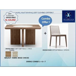 Walnut Square Dining Table + Beige Dining Chair