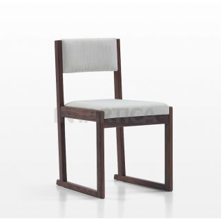 Walnut Beige Fabric Chair