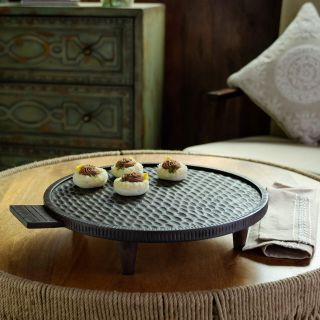 Tribal Mango Wood Platter With Legs Round Brown