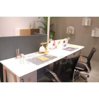 White 2-Person Single Side Workstation