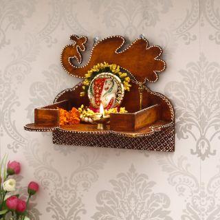 eCraftIndia Brown MDF Pooja Temple/Mandir (WTEMP518)