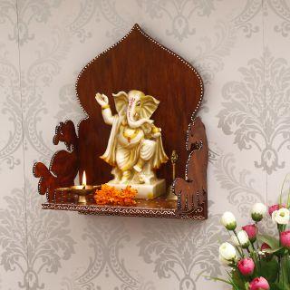 eCraftIndia Brown MDF Pooja Temple/Mandir (WTEMP519)