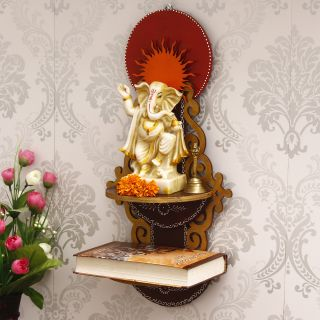 eCraftIndia Brown & Red MDF Pooja Temple/Mandir with Additional Shelf (WTEMP520)