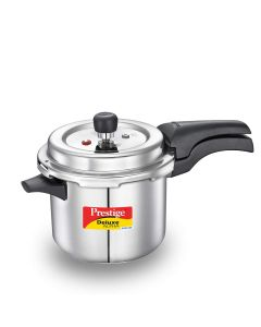 Prestige Deluxe Alpha Svachh Stainless Steel Straight Wall Outer Lid Pressure Cooker, 3.5 Litre, Silver