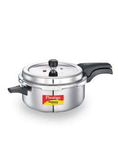 Prestige Deluxe Alpha Svachh Stainless Steel Outer Lid Pressure Pan, 5 Litre, Silver