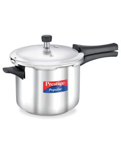 Prestige Popular Stainless Steel Straight Wall Outer Lid Pressure Cooker, 5 Litre, Silver