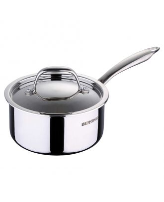 Bergner Argent Triply Stainless Steel Saucepan with Stainless Steel Lid, 14 cm, 1.0 Litres, Induction Base, Silver