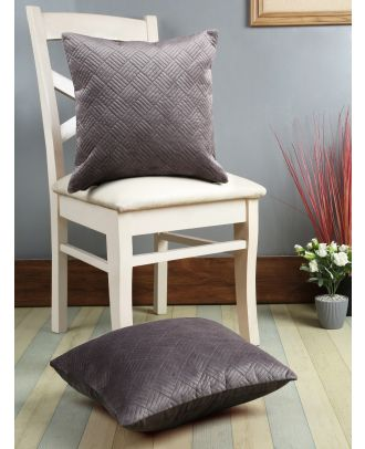 Eyda Grey Color Designer Quilted Cushion Cover Set of 2(ECUS101SO2)