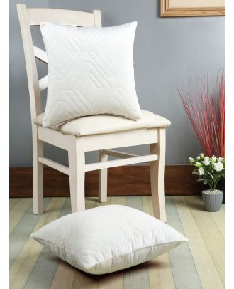 Eyda White Color Designer Quilted Cushion Cover Set of 2(ECUS99SO2)