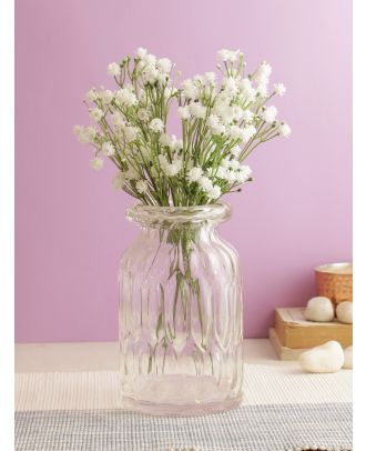 Alluring bunch of Real alike Flowers - White-Set of 4(FL2082WH)