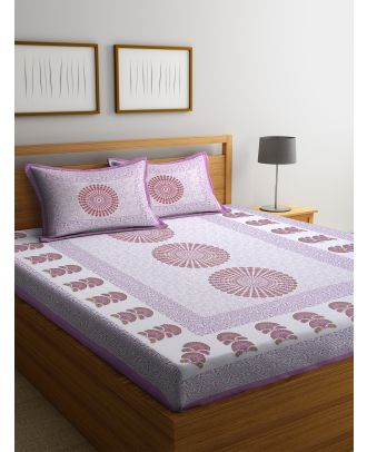 Paisley Print Rajasthani Double Bed sheet with Two Pillow Cover(RD-10)