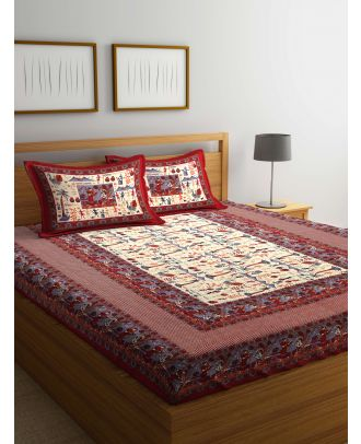 Rajasthani Print Cotton Double Bed Sheet with Two Pillow Cover(RD-15)
