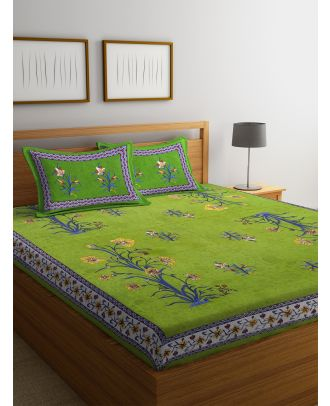 Screen Print Jaipuri Green Double Bed sheet with Two Pillow Covers(RD-70)