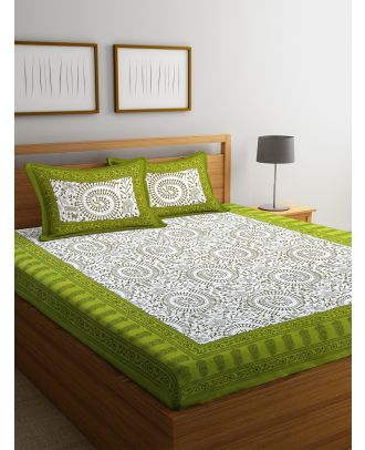 Rajasthani Tradional Print White and Green Double Bed sheet with Two Pillow Covers(RD-75)