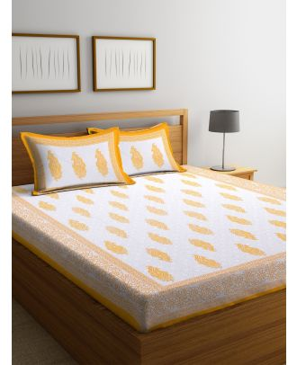 Screen Block Paisley White and Yellow Double Bed sheet with Two Pillow Covers(RD-83)