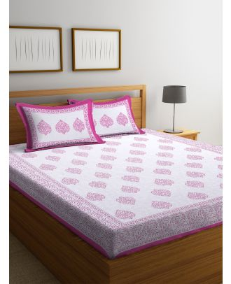 Tradional Block Print White and Pink Double Bed sheet with Two Pillow Covers(RD-85)