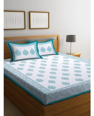 Tradional Block Print White and Sea Green Double Bed sheet with Two Pillow Covers(RD-86)