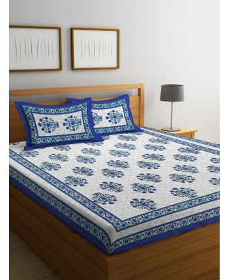 Hand Screen Floral Indigo Double Size Bed sheet with Two Pillow Covers(RD-89)