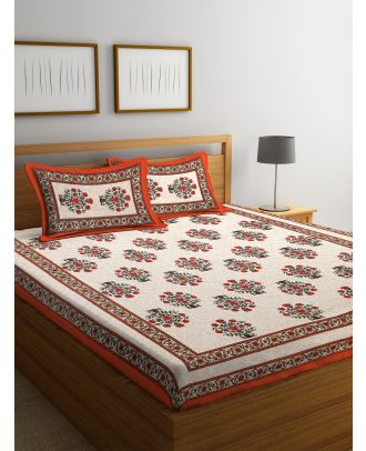 Hand Screen Floral White and Orange Double Size Bed sheet with Two Pillow Covers(RD-90)