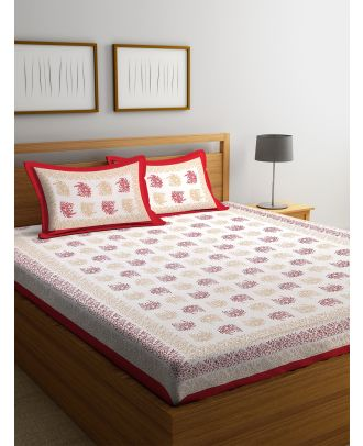 Hand Screen Leaf Design White and Red Double Size Bed sheet with Two Pillow Covers(RD-91)