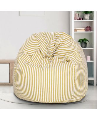 Reme White and Yellow Striped Printed 100% Organic Cotton XXL Bean Bag Cover with Beans (REFH_111-With Beans)