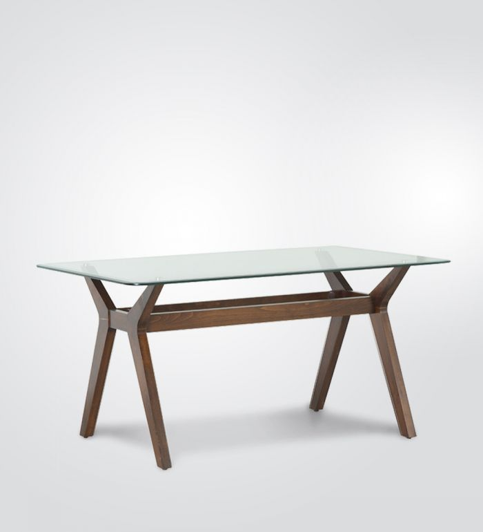 Glass Top Wooden Dining Table